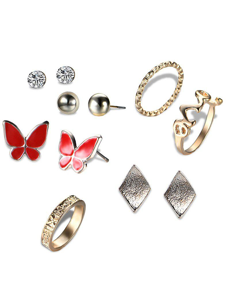 Rhinestone Butterfly Earring and Love Ring Set - GOLDEN