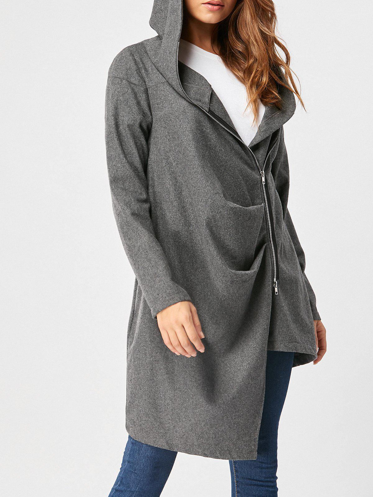 Hooded High Low Zippered Coat - DEEP GRAY L