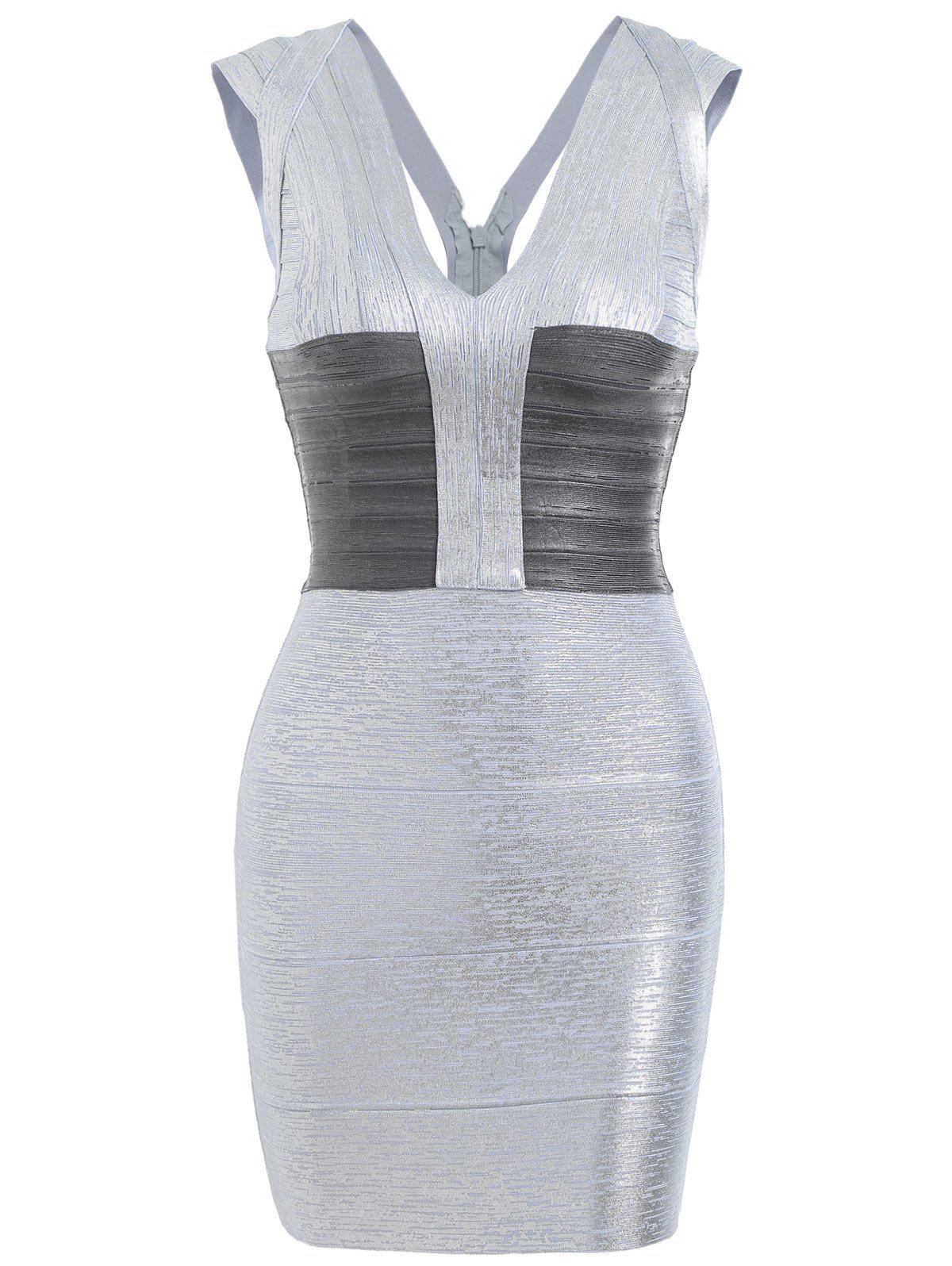 V Neck Sleeveless Metallic Bandage Dress - SILVER L