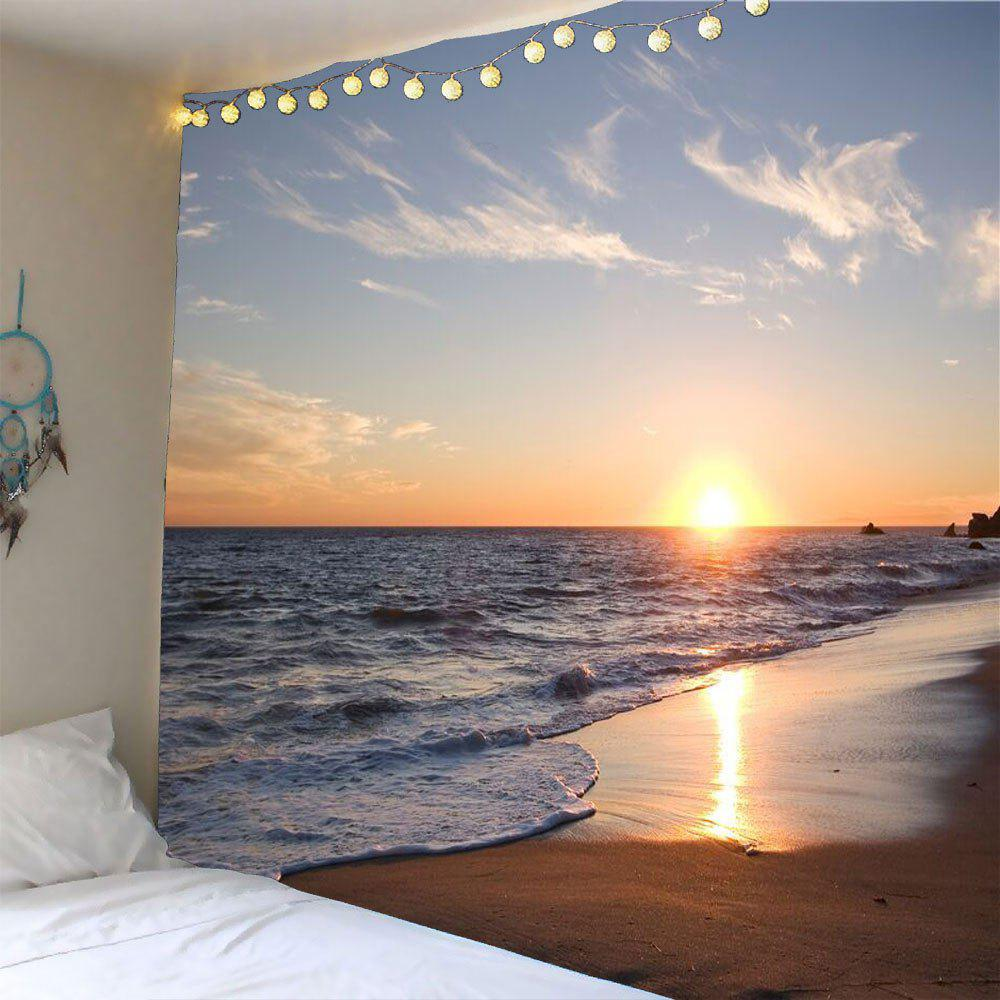 Seaside Sunset Waterproof Hanging Tapestry seaside sunset print microfiber waterproof table cloth