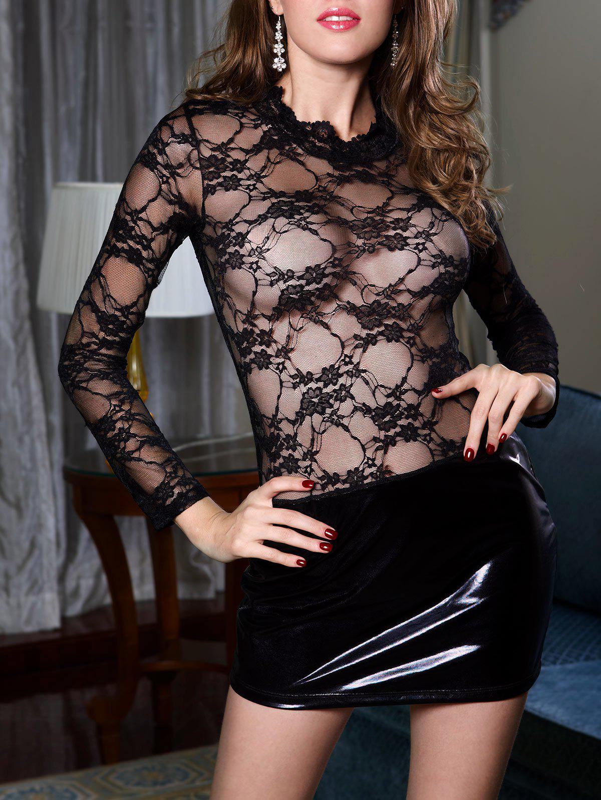 Lace Insert Sheer Dress with Sleeves - Noir ONE SIZE