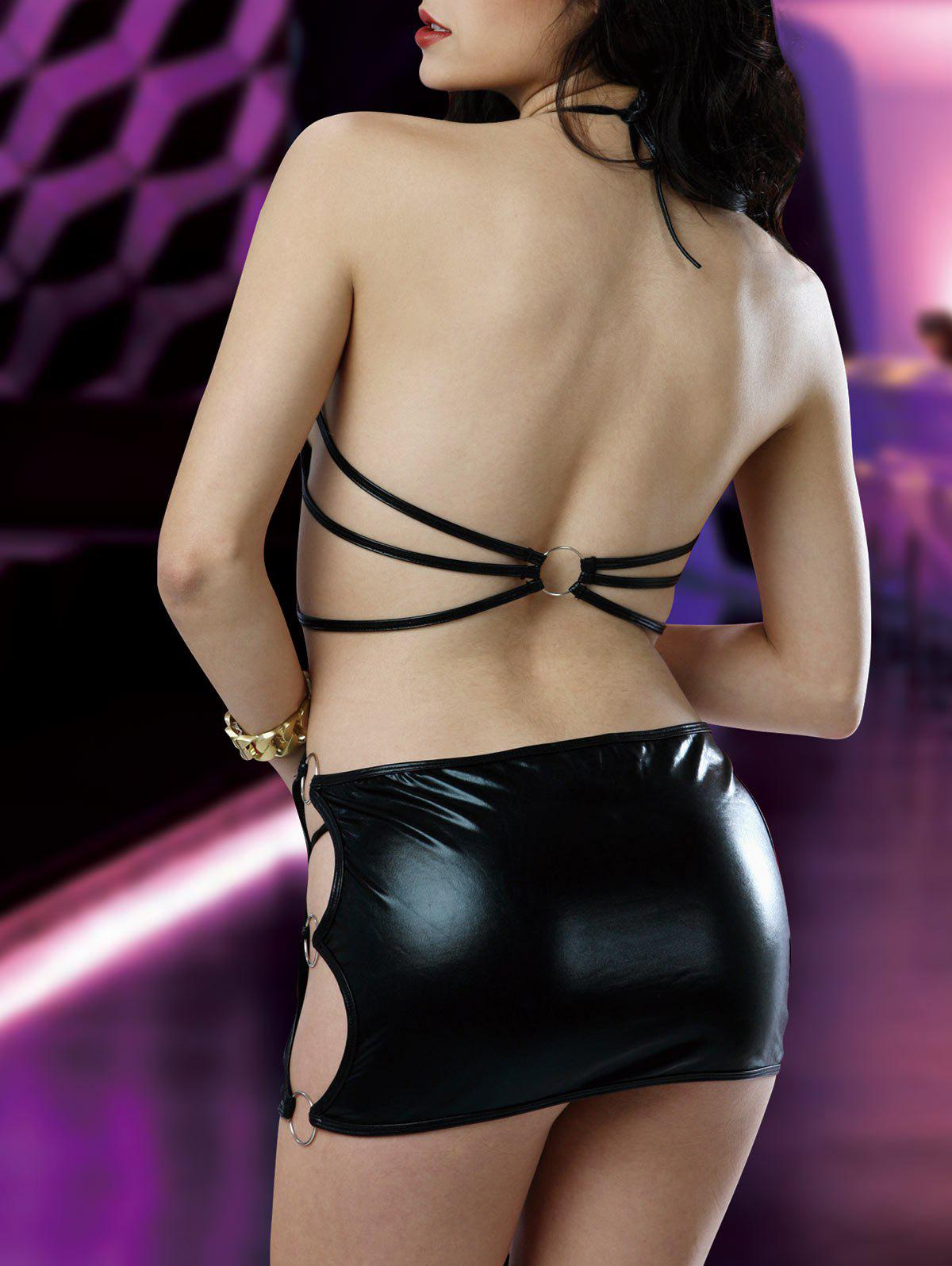 Low Cut Backless Strappy Lingerie Dress - BLACK M