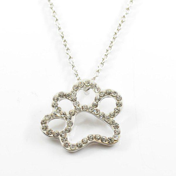 Cute Rhinestoned Claw Footprint Collier - Argent