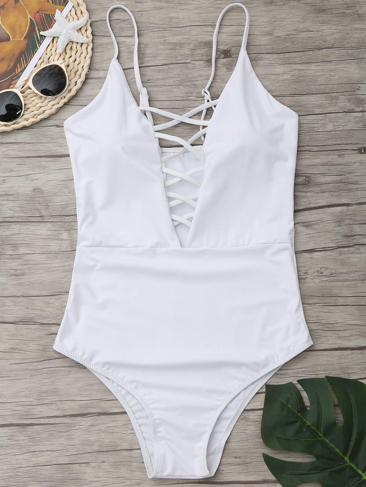 Criss Cross One Piece Swimsuit - WHITE M