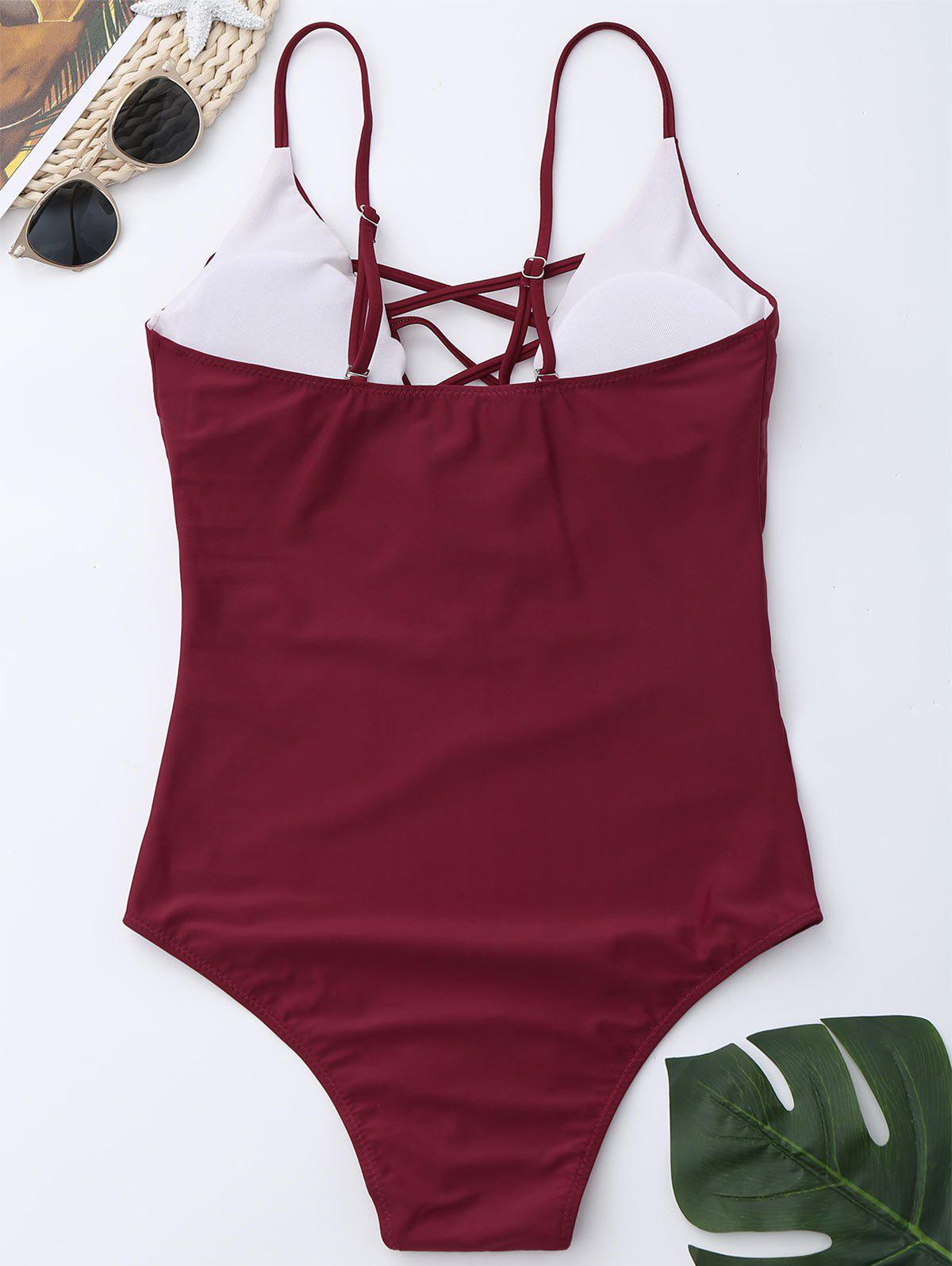 Criss Cross One Piece Swimsuit - Rouge vineux L