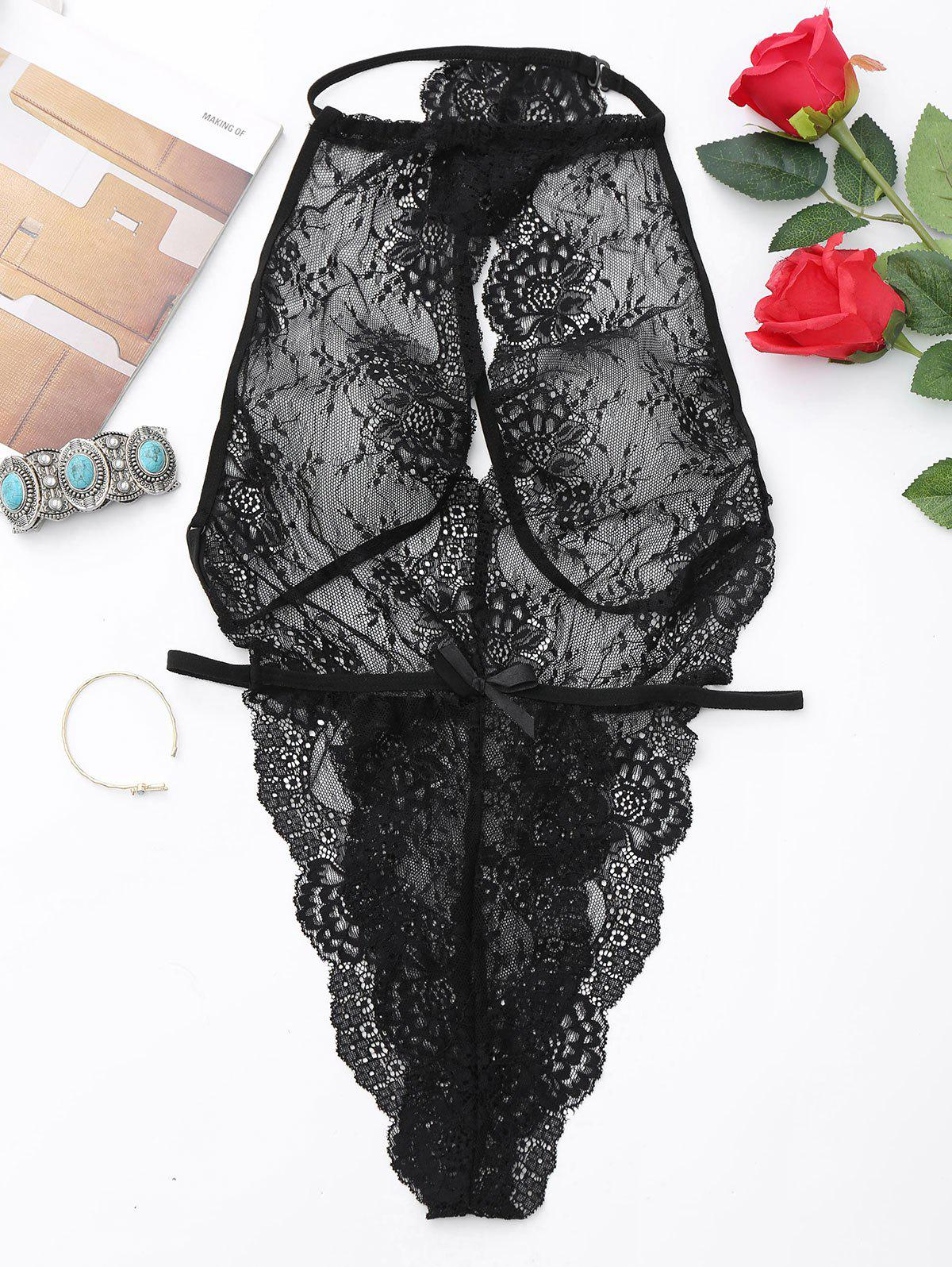 Lace See Thru Backless Teddy - Noir M
