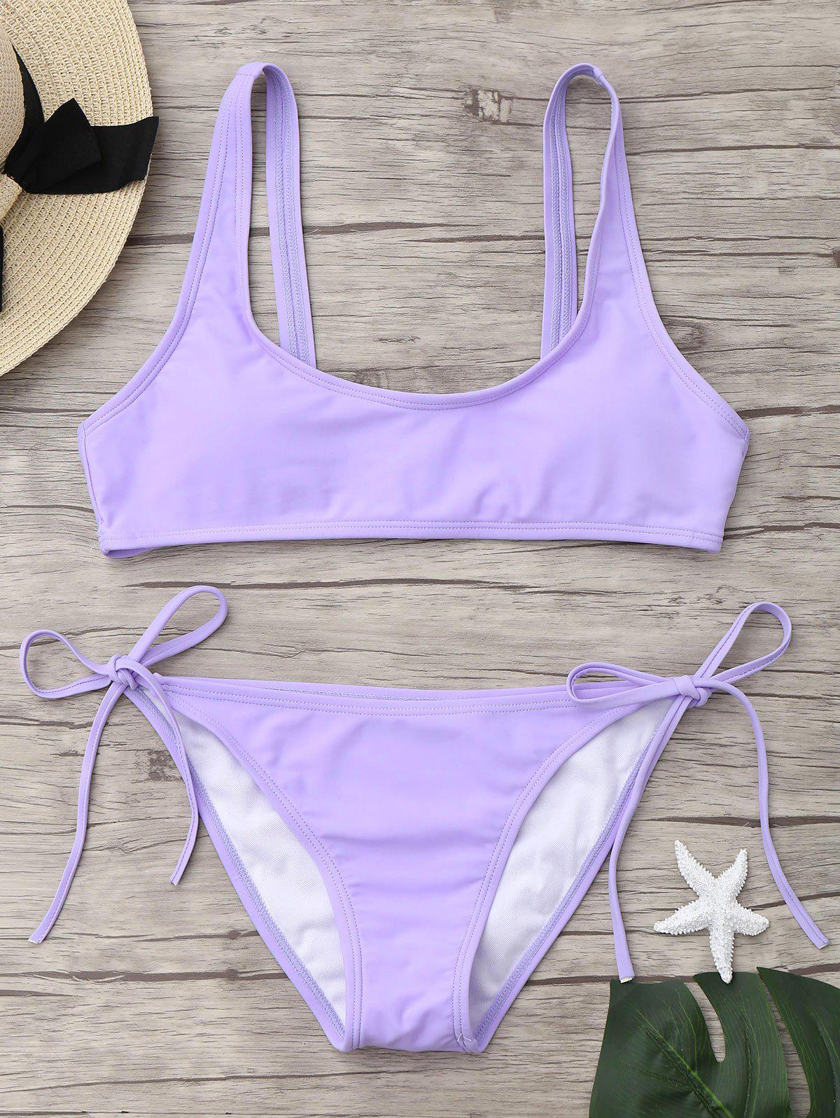 U Neck Tie Side Bikini Set - LIGHT PURPLE M