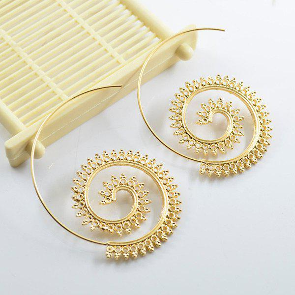 Metal Circle Statement Earrings - GOLDEN