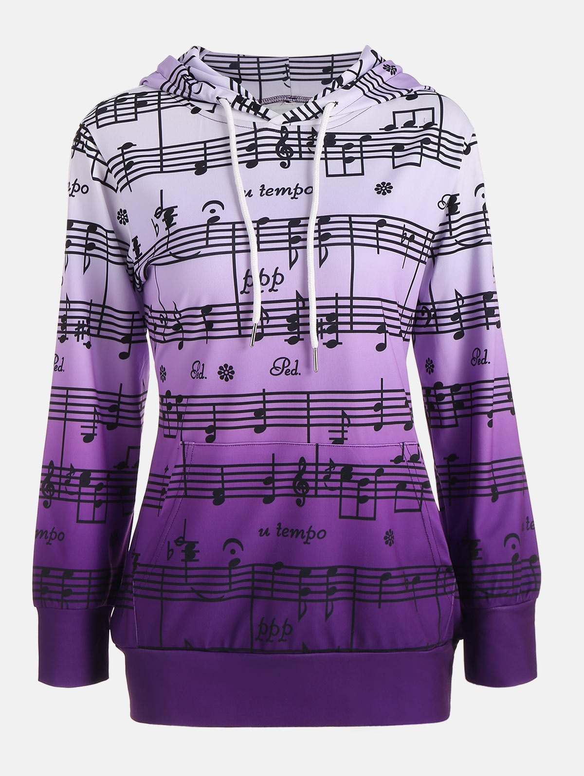 musical notes sweater 2018 ombre musical notes print kangaroo hoodie purple s in 8950