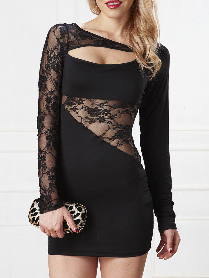 Lace Insert Cut Out Bodycon Dress - BLACK ONE SIZE