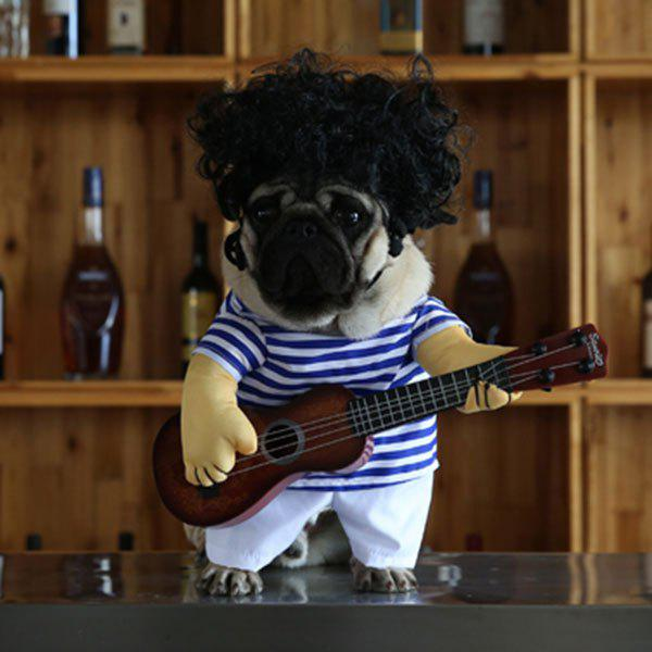 Pet Dog Guitar Stripe Jumpsuit with Wig - BLUE STRIP PATTERN L