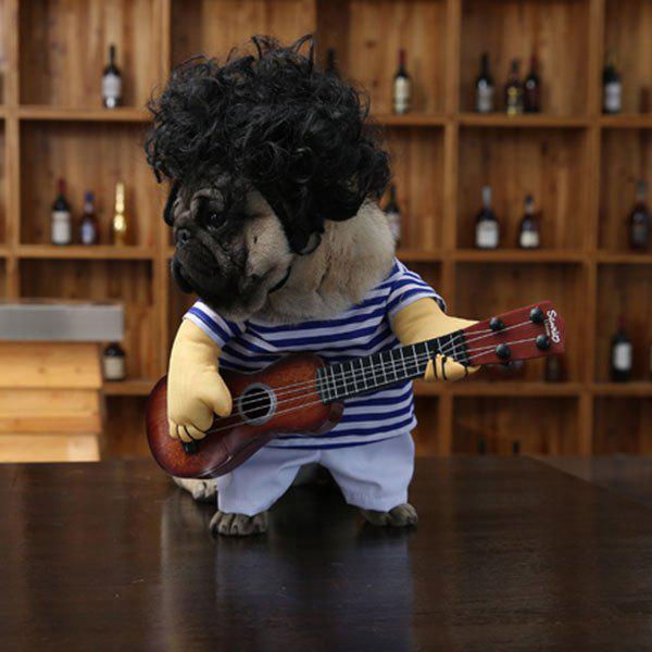 Pet Dog Guitar Stripe Jumpsuit with Wig - BLUE STRIP PATTERN XL