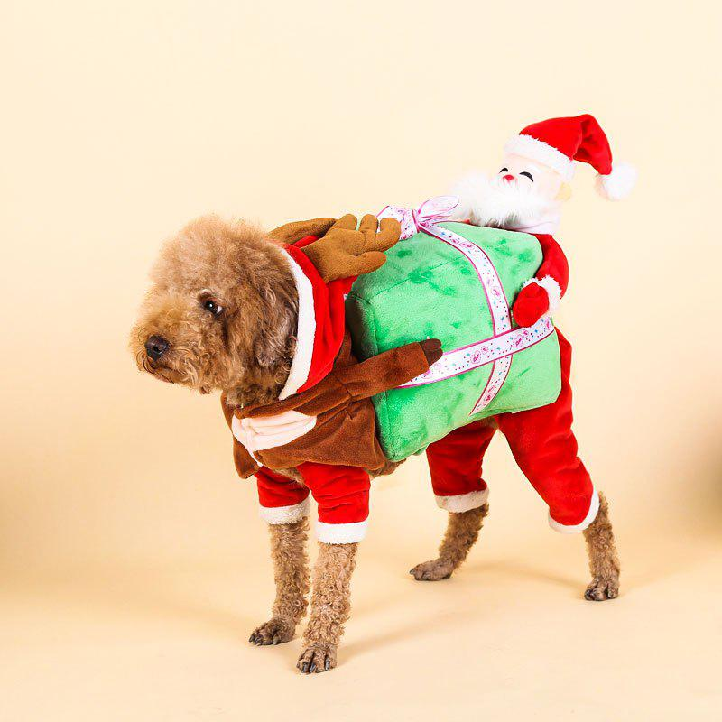 Santa Claus Pet Costume Christmas Dog Hooded Jumpsuit - RED XL