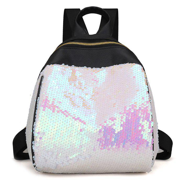 Sequins PU Leather Backpack - WHITE