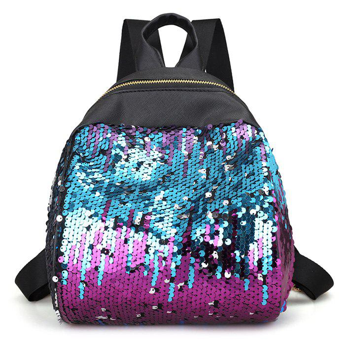 Sequins PU Leather Backpack - BLUE