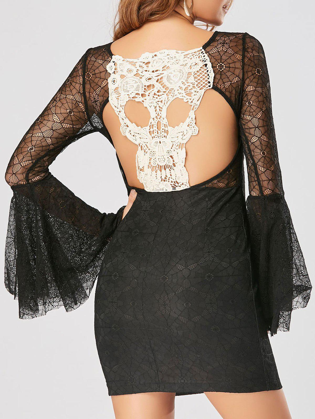 Skull Cut Out Lace Mini Bodycon Dress - BLACK M
