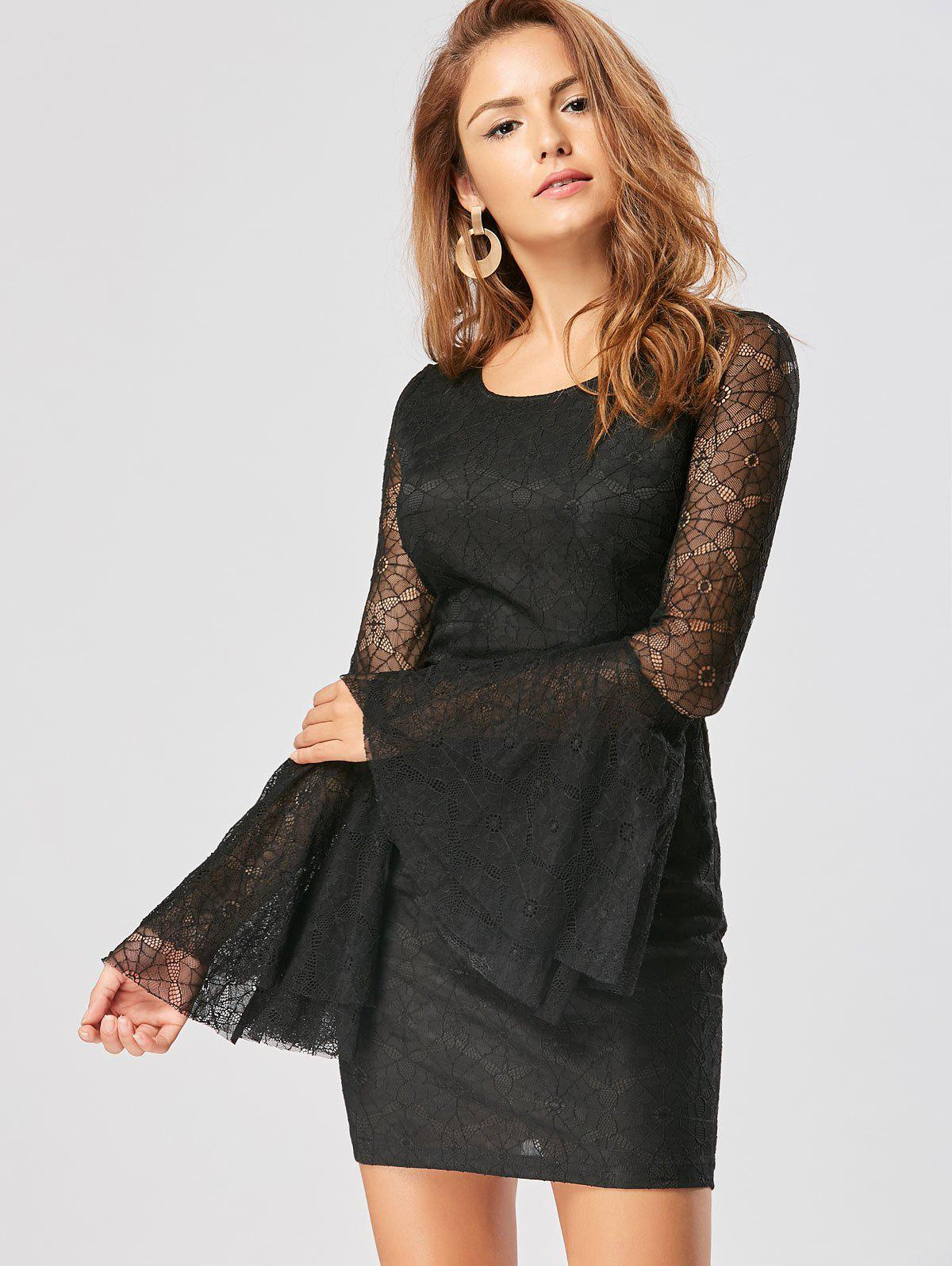 Skull Cut Out Lace Mini Bodycon Dress - BLACK XL
