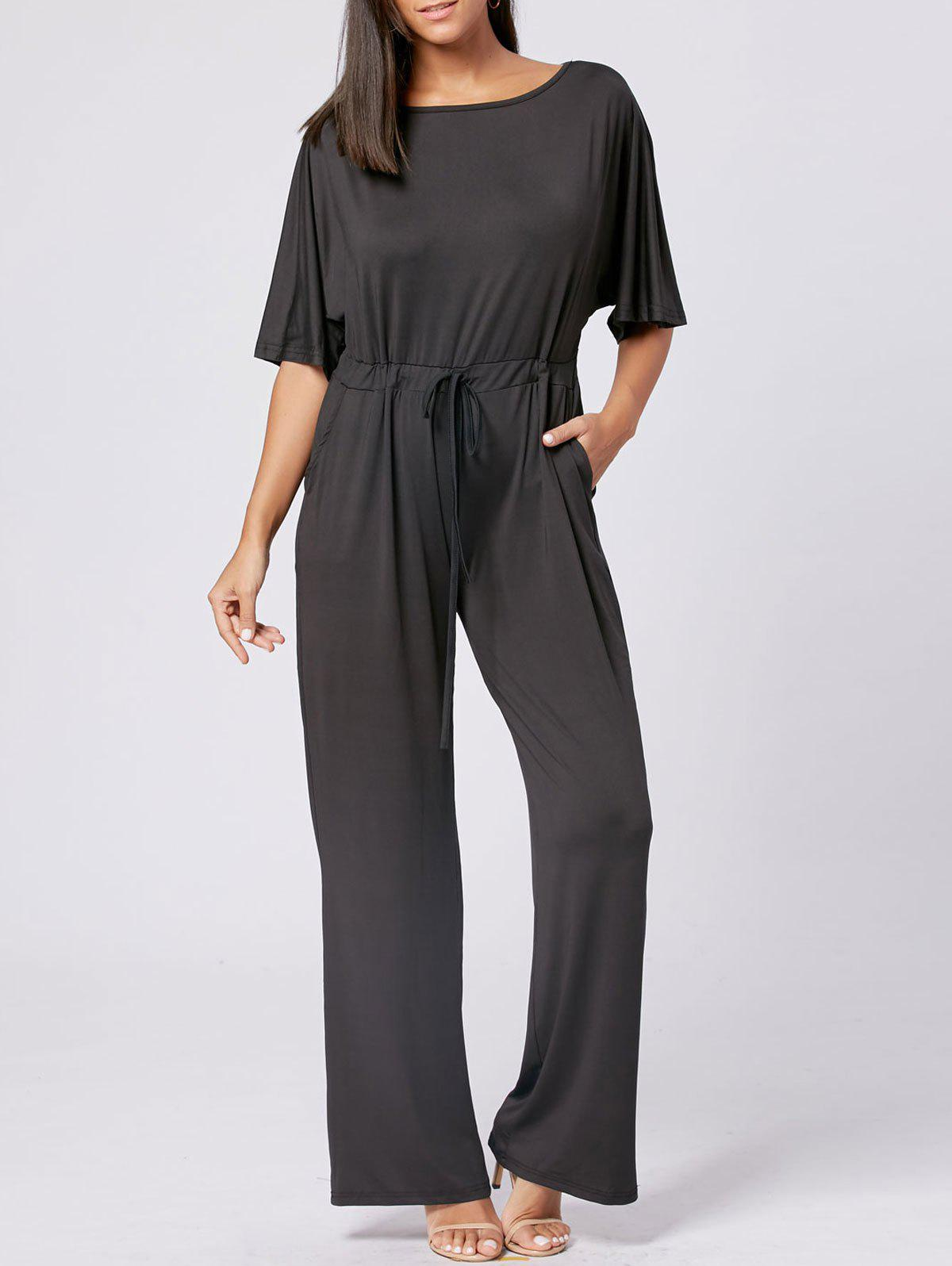 Drawstring Maxi Wide Leg Jumpsuit - BLACK XL