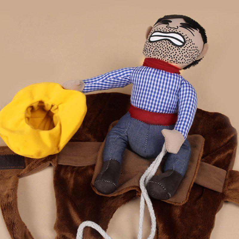 Knight Outfit Cowboy Rider Pet Costume for Dog - BROWN XL