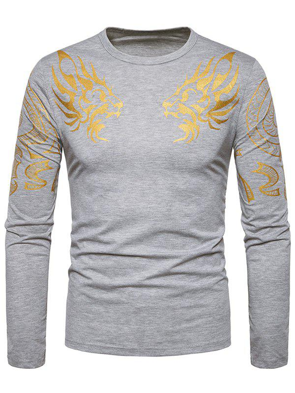 Bronzing Symmetrical Dragon Print T-shirt - LIGHT GRAY L