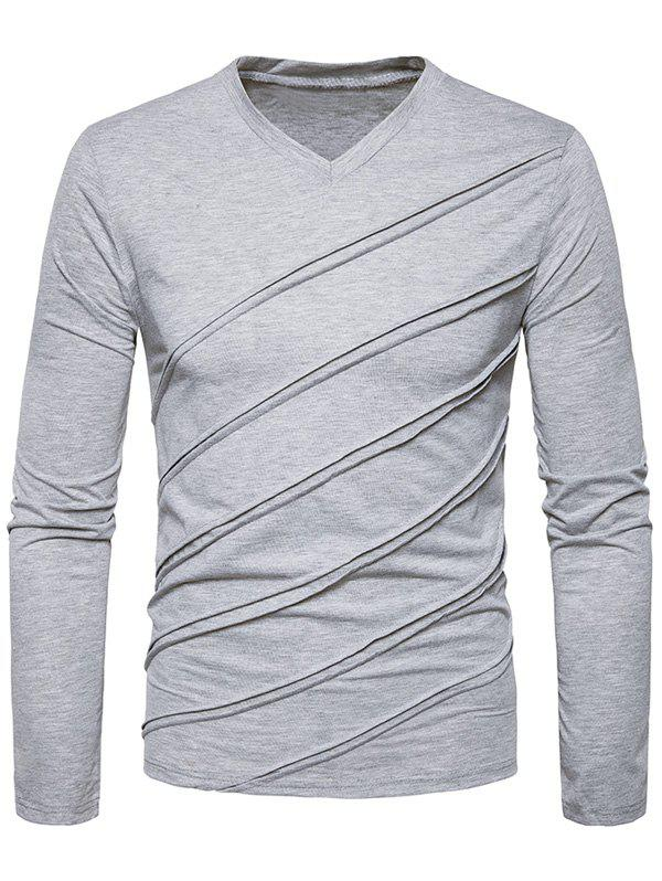 Accordion Pleat V Neck T-shirt - LIGHT GRAY L