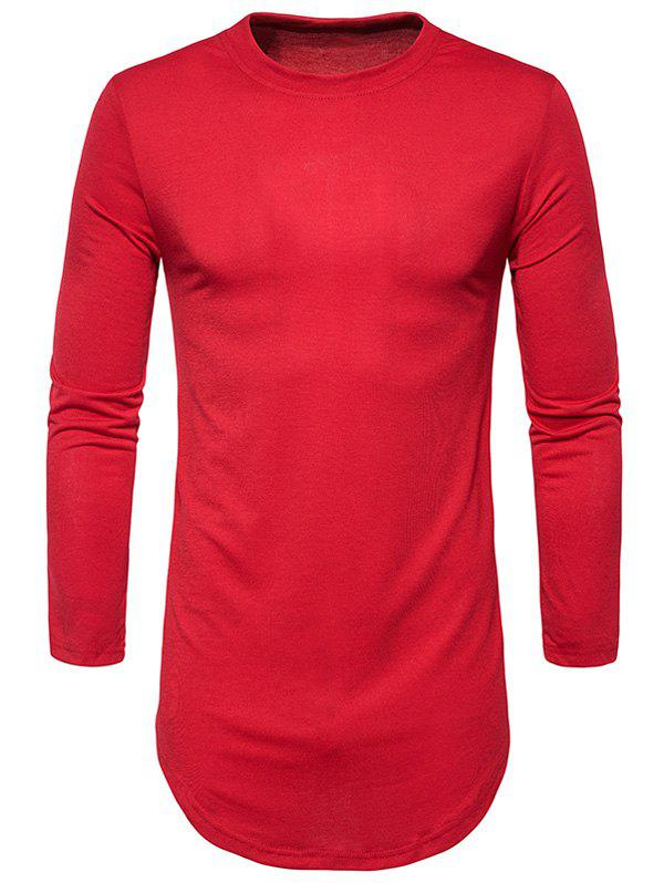 Curve Bottom Side Zip Longline T-shirt - RED S