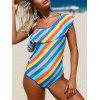 Ruffle Striped Lace Up Swimsuit - BLUE/WHITE S