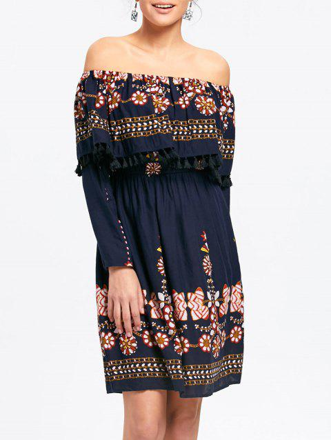 Floral Off The Shoulder Tassel Dress - CERULEAN S