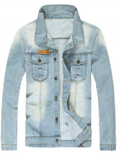Button Up Washable Denim Jacket - LIGHT BLUE XL