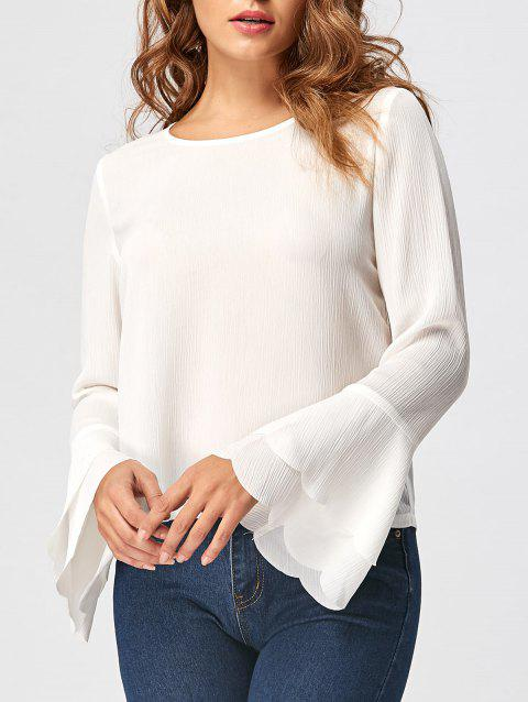 Tiered Flare Sleeve Blouse - WHITE 2XL