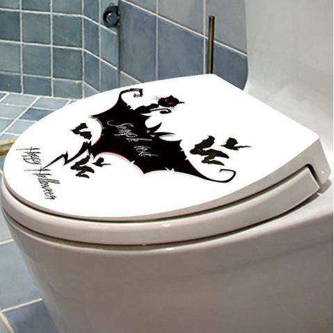 Cat Bat Toilet Sticker Black