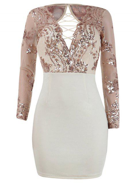 Sequins Lace Up Going Out Dress - APRICOT XL