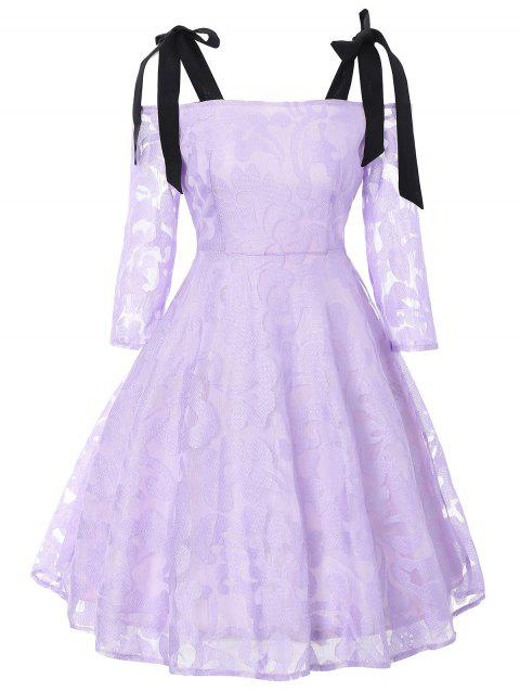 Bowknot Cold Shoulder Lace Dress - LIGHT PURPLE L