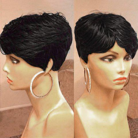 Short Inclined Fringe Layered Textured Slightly Curled Human Hair Wig - JET BLACK 01