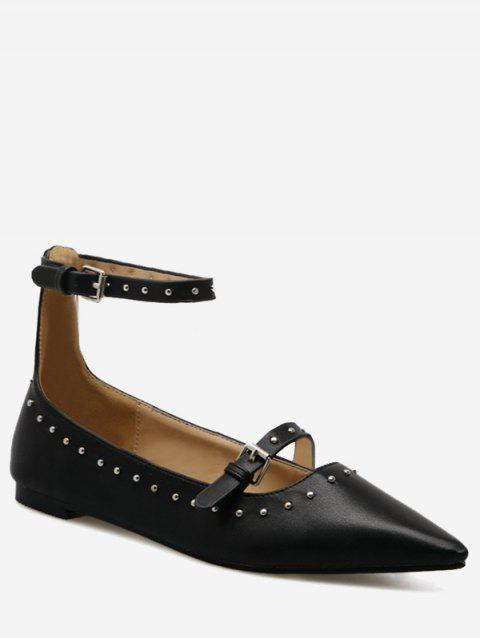 Stud Buckle Strap Ankle Strap Flats - BLACK 34