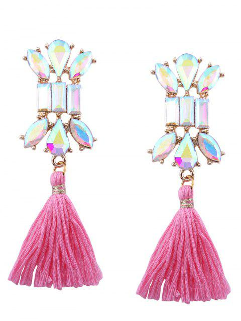 Faux Crystal Teardrop Tassel Vintage Earrings - PINK