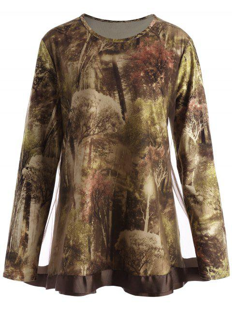 Plus Size Forest Print Mesh Panel T-shirt - LIGHT BROWN 5XL