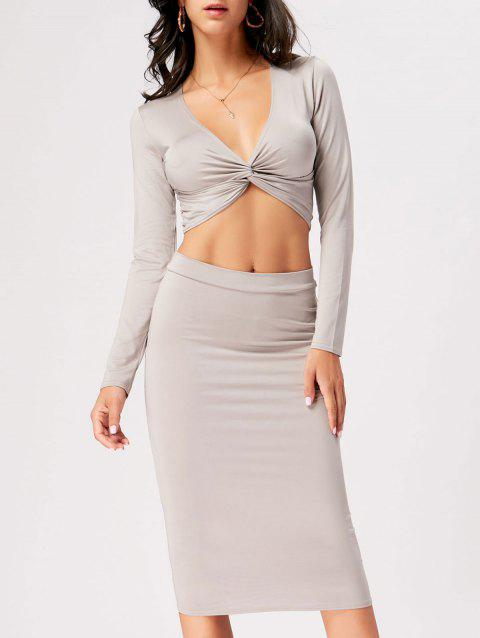 Front Knot Crop Top With Midi Bodycon Skirt - GRAY S