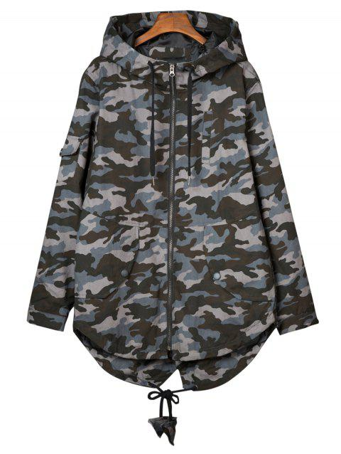 Hooded Camouflage Pockets Lightweight Coat - CAMOUFLAGE GRAY XL