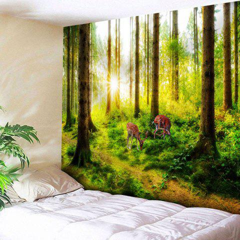 Sunshine Forest Deer Pattern Wall Tapestry - GREEN W91 INCH * L71 INCH