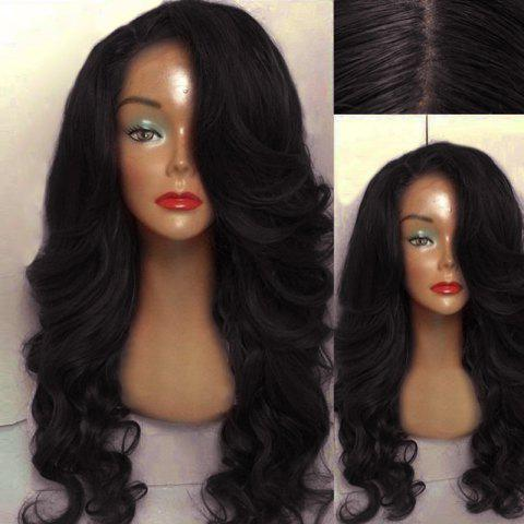 Long Side Part Wavy Human Hair Lace Front Wig - BLACK