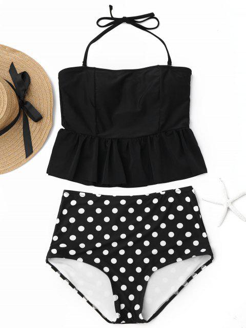 Peplum High Waisted Polka Dot Tankini Set - BLACK L