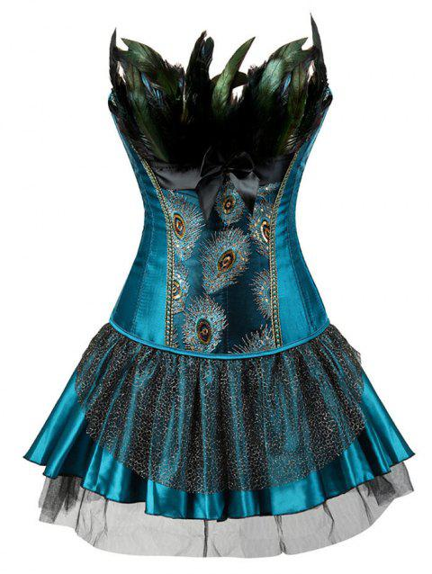 f71a4f9e5a0 17% OFF  2019 Two Piece Corset Dress With Feather In LAKE BLUE ...
