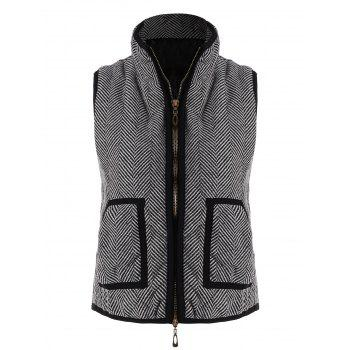Zip Up Pocket Herringbone Vest - GRAY GRAY