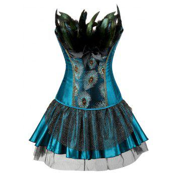 Two Piece Corset Dress with Feather