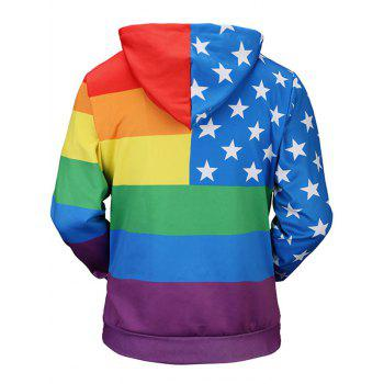 Kangaroo Pocket Star Rainbow Stripe Print Hoodie - COLORMIX L