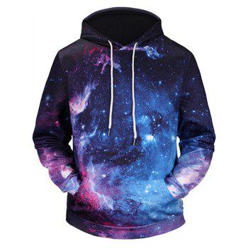 3D Galaxy Printed Kangaroo Pocket Pullover Hoodie - COLORMIX COLORMIX