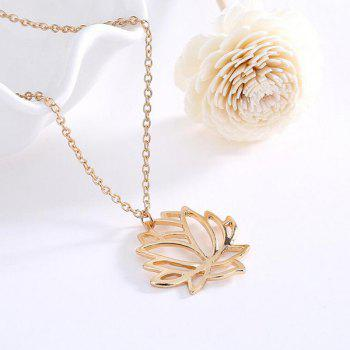 Hollow Out Lotus Flower Charm Necklace