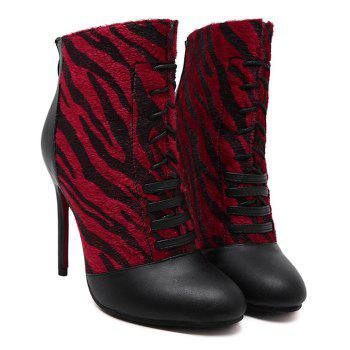 Lace Up Zip Stiletto Heel Boots - WINE RED 39