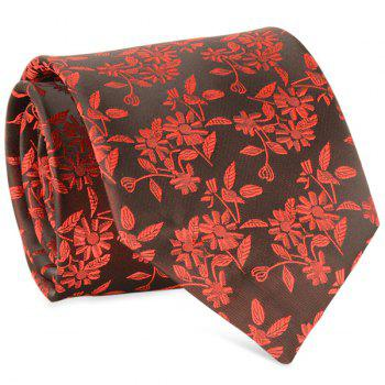Small Sunflower Jacquard 8CM Width Tie - RED RED